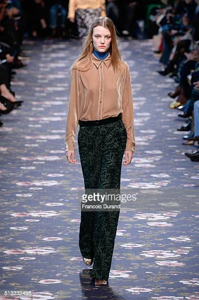 Model walks the runway during the Rochas show as part of the Paris Fashion Week Womenswear Fall/Winter 2016/2017 on March 2, 2016 in Paris, France.