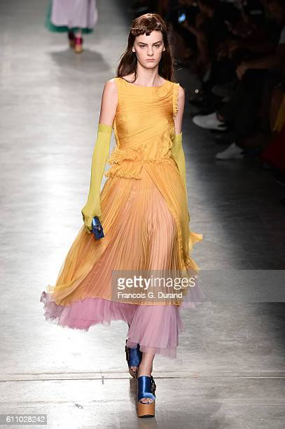 A model walks the runway during the Rochas show as part of the Paris Fashion Week Womenswear Spring/Summer 2017 on September 28 2016 in Paris France