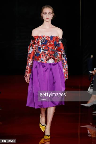 A model walks the runway during the Rochas show as part of the Paris Fashion Week Womenswear Spring/Summer 2018 on September 27 2017 in Paris France
