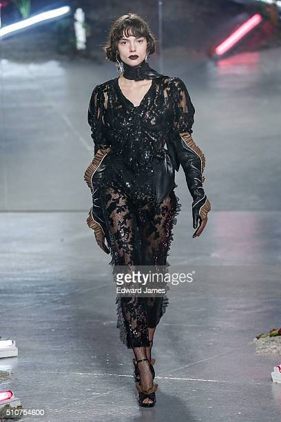 A model walks the runway during the Rodarte fashion show at 548 W 22nd St on February 16 2016 in New York City