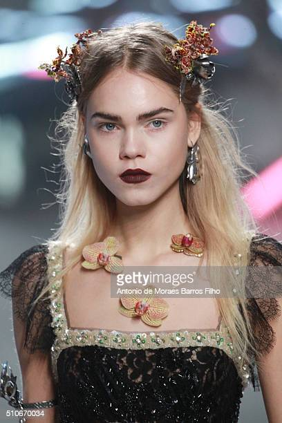 A model walks the runway during the Rodarte show as a part of Fall 2016 New York Fashion Week at on February 16 2016 in New York City