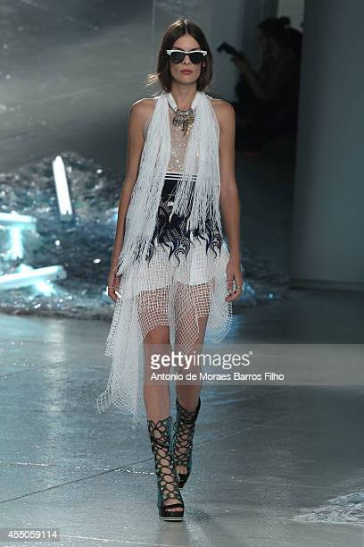 A model walks the runway during the Rodarte show at MercedesBenz Fashion Week Spring 2015 at on September 9 2014 in New York City