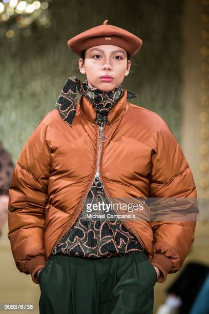 A model walks the runway during the Rodebjer show on the third day of Stockholm Fashion Week at the Citykonditoriet on January 23 2018 in Stockholm...