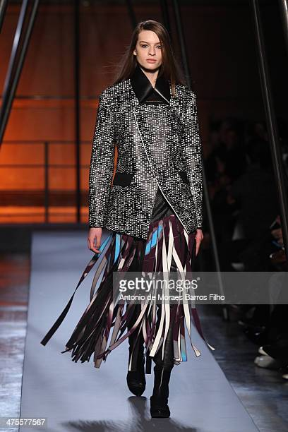 A model walks the runway during the Roland Mouret show as part of the Paris Fashion Week Womenswear Fall/Winter 20142015 on February 28 2014 in Paris...
