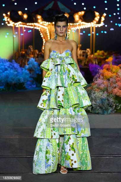 Model walks the runway during the Romance Was Born show during Afterpay Australian Fashion Week 2021 Resort '22 Collections at Carriageworks on May...