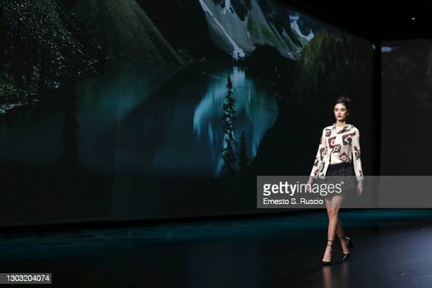 """Model walks the runway during the """"Rome Is My Runway"""" Collective Fashion Show at the Altaroma 2021 on February 20, 2021 in Rome, Italy."""