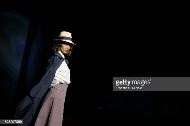 """Model walks the runway during the """"Rome Is My Runway"""" Collective Fashion Show featuring designs by Annagiulia Firenze, Eticlò, Gaiofatto and Pommes..."""