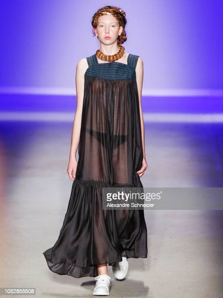 A model walks the runway during the Ronaldo Fraga fashion show during Sao Paulo Fashion Week N46 Winter 2019 at Arca on October 23 2018 in Sao Paulo...