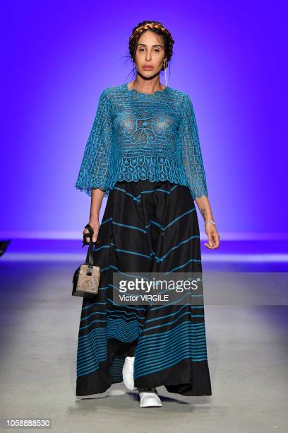 A model walks the runway during the Ronaldo Fraga fashion show during Sao Paulo Fashion Week N46 Fall/Winter 2019 on October 23 2018 in Sao Paulo...
