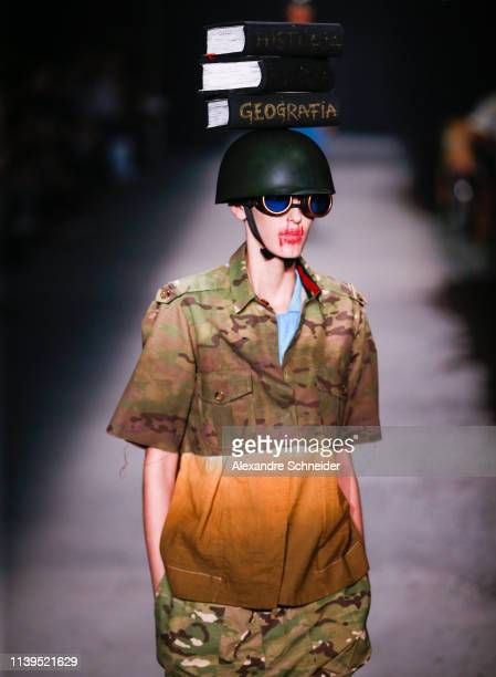 A model walks the runway during the Ronaldo Fraga fashion show during Sao Paulo Fashion Week N47 Summer 2020 at Arca on April 26 2019 in Sao Paulo...