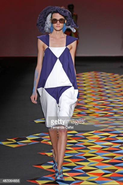 A model walks the runway during the Ronaldo Fraga show at Sao Paulo Fashion Week Summer 2014/2015 at Parque Candido Portinari on April 2 2014 in Sao...