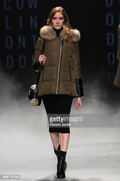 A model walks the runway during the Rudsak fashion show at David Pecaut Square on March 26 2015 in Toronto Canada