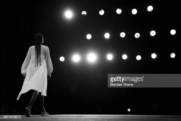 Model walks the runway during the Rumer show during Afterpay Australian Fashion Week 2021 Resort '22 Collections at Carriageworks on June 03, 2021 in...