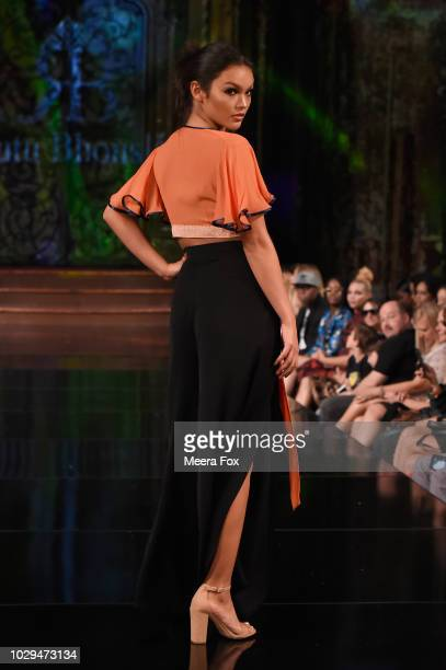 A model walks the runway during the RUTU BHONSLE show at New York Fashion Week Powered By Art Hearts Fashion at The Angel Orensanz Foundation on...