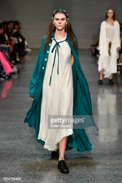 A model walks the runway during the Ryan Turner Contemporary Salon show during New Zealand Fashion Week 2018 at Viaduct Events Centre on August 28...