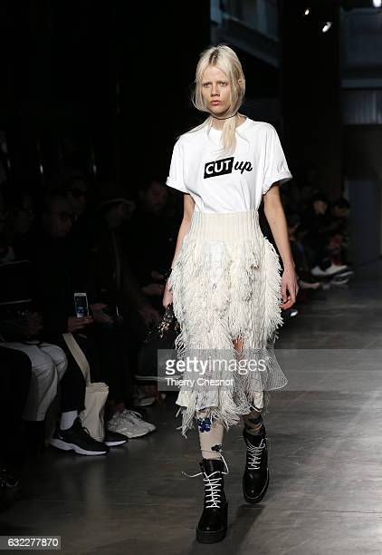 A model walks the runway during the Sacai Menswear Fall/Winter 20172018 show as part of Paris Fashion Week on January 21 2017 in Paris France