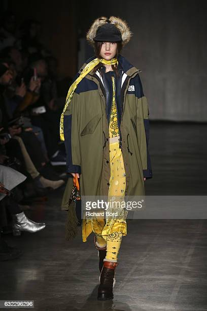 Model walks the runway during the Sacai Menswear Fall/Winter 2017-2018 show as part of Paris Fashion Week on January 21, 2017 in Paris, France.