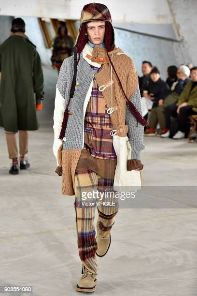 Model walks the runway during the Sacai Menswear Fall/Winter 2018-2019 show as part of Paris Fashion Week on January 20, 2018 in Paris, France.