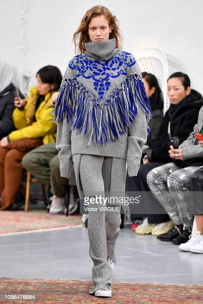 A model walks the runway during the Sacai Menswear Fall/Winter 20192020 fashion show as part of Paris Fashion Week on January 19 2019 in Paris France
