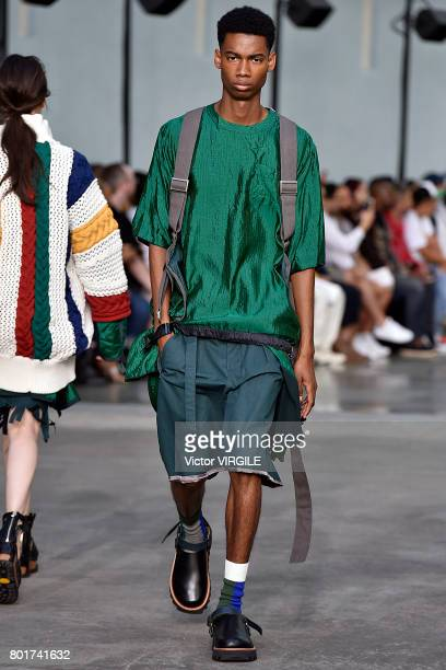 A model walks the runway during the Sacai Menswear Spring/Summer 2018 show as part of Paris Fashion Week on June 24 2017 in Paris France