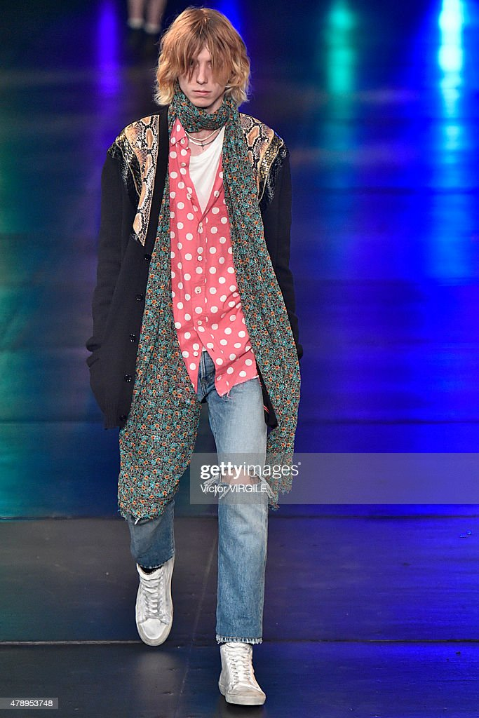 A model walks the runway during the Saint Laurent Ready to Wear Menswear Spring/Summer 2016 show as part of Paris Fashion Week on June 28, 2015 in Paris, France.