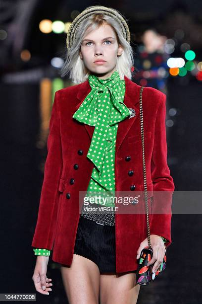 A model walks the runway during the Saint Laurent Ready to Wear fashion show as part of the Paris Fashion Week Womenswear Spring/Summer 2019 on...