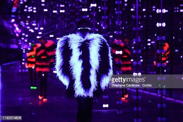 A model walks the runway during the Saint Laurent show as part of the Paris Fashion Week Womenswear Fall/Winter 2019/2020 on February 26 2019 in...