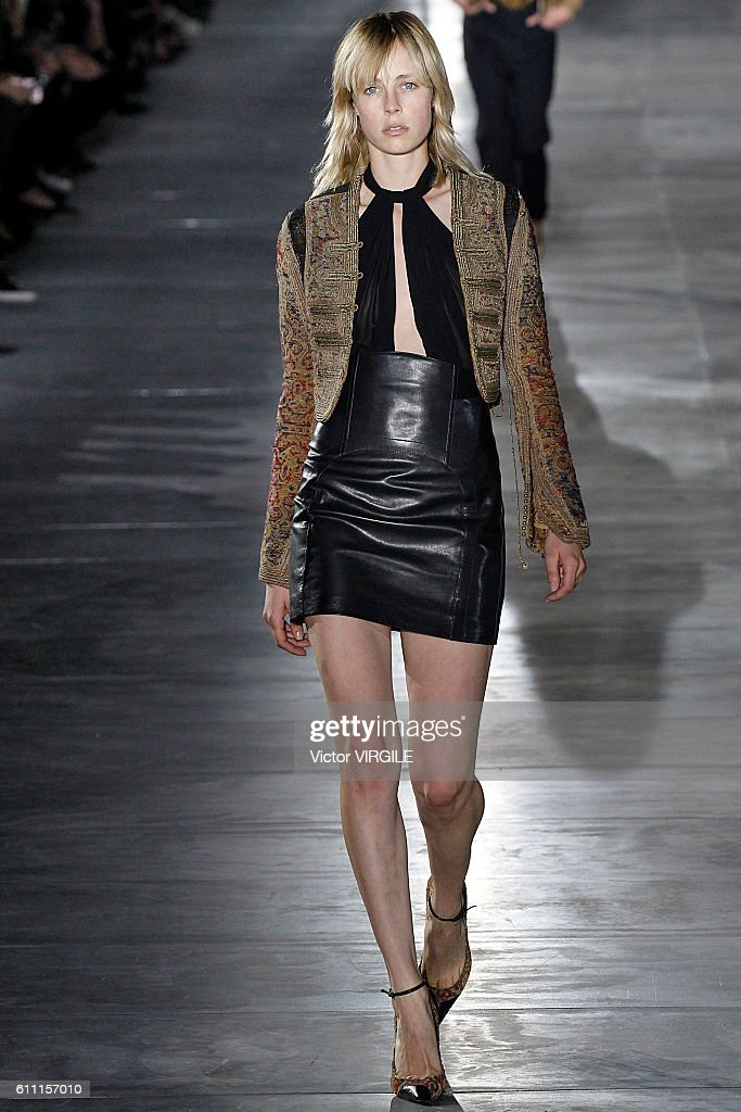 A model walks the runway during the Saint Laurent show as part of the Paris Fashion Week Womenswear Spring/Summer 2017 on September 27, 2016 in Paris, France.