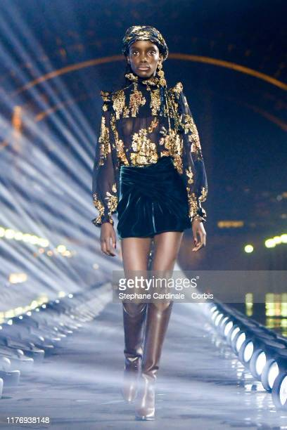 Model walks the runway during the Saint Laurent Womenswear Spring/Summer 2020 show as part of Paris Fashion Week on September 24, 2019 in Paris,...