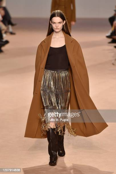 A model walks the runway during the Salvatore Ferragamo fashion show as part of Milan Fashion Week Fall/Winter 20202021 on February 22 2020 in Milan...