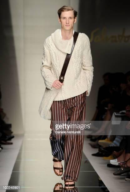 Model walks the runway during the Salvatore Ferragamo Milan Menswear Spring/Summer 2011 show on June 20, 2010 in Milan, Italy.