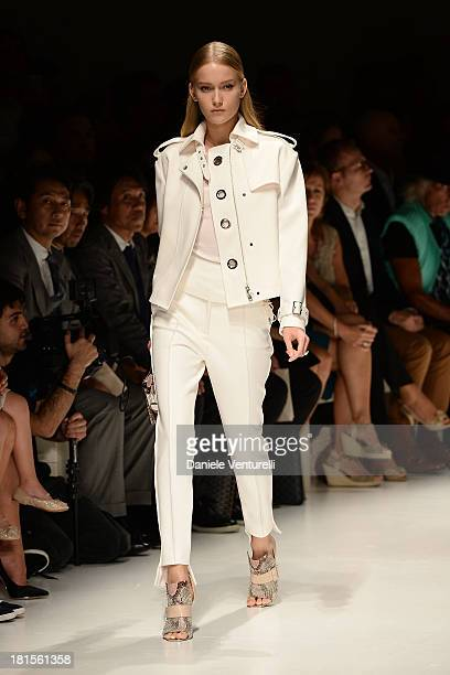 Model walks the runway during the Salvatore Ferragamo show as a part of Milan Fashion Week Womenswear Spring/Summer 2014 on September 22, 2013 in...