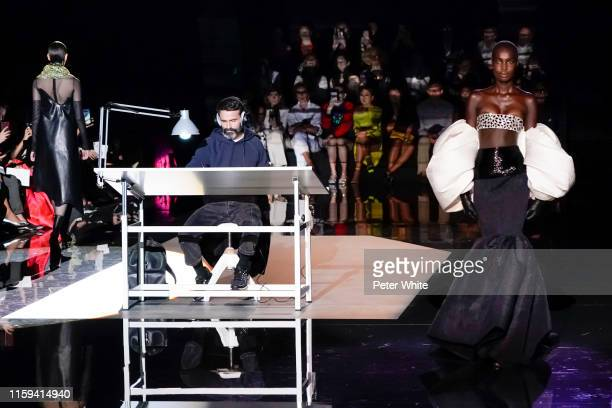 A model walks the runway during the Schiaparelli Haute Couture Fall/Winter 2019 2020 show as part of Paris Fashion Week on July 01 2019 in Paris...