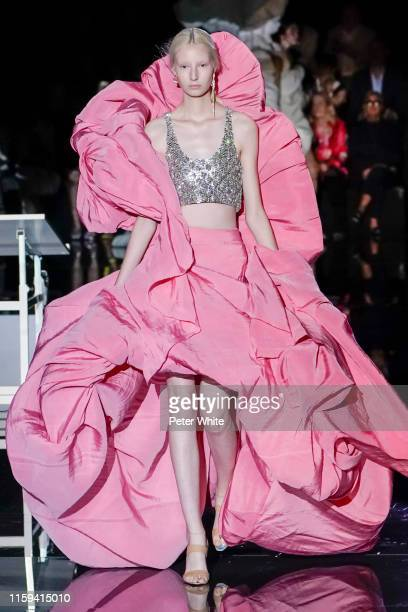 Model walks the runway during the Schiaparelli Haute Couture Fall/Winter 2019 2020 show as part of Paris Fashion Week on July 01, 2019 in Paris,...
