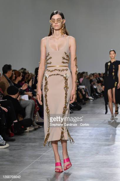 Model walks the runway during the Schiaparelli Haute Couture Spring/Summer 2020 show as part of Paris Fashion Week on January 20, 2020 in Paris,...
