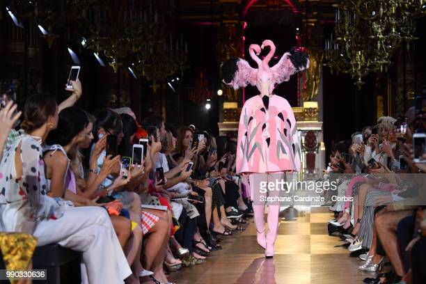 Model walks the runway during the Schiaparelli Haute Couture Fall Winter 2018/2019 show as part of Paris Fashion Week on July 2, 2018 in Paris,...