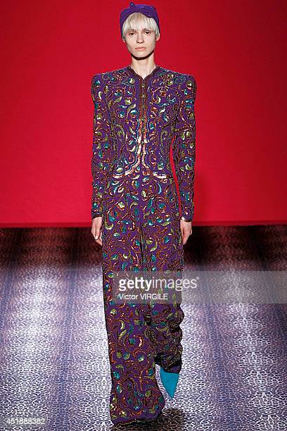 Model walks the runway during the Schiaparelli show as part of Paris Fashion Week - Haute Couture Fall/Winter 2014-2015 on July 7, 2014 in Paris,...