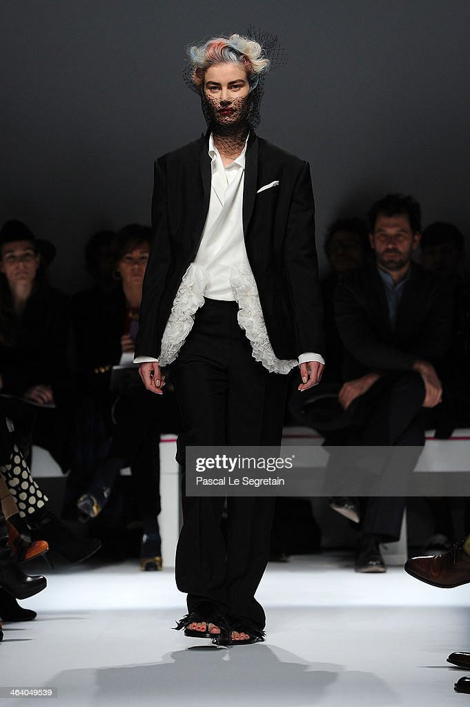A model walks the runway during the Schiaparelli show as part of Paris Fashion Week Haute Couture Spring/Summer 2014 on January 20, 2014 in Paris, France.