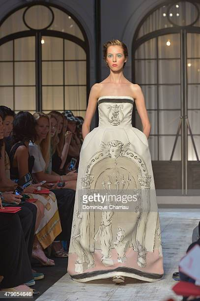 A model walks the runway during the Schiaparelli show as part of Paris Fashion Week Haute Couture Fall/Winter 2015/2016 on July 6 2015 in Paris France
