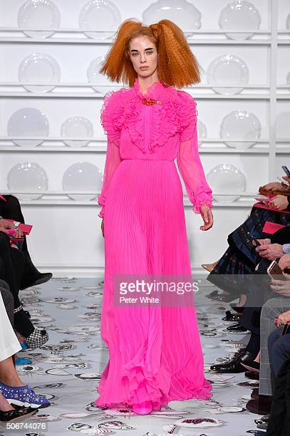A model walks the runway during the Schiaparelli Spring Summer 2016 show as part of Paris Fashion Week on January 25 2016 in Paris France