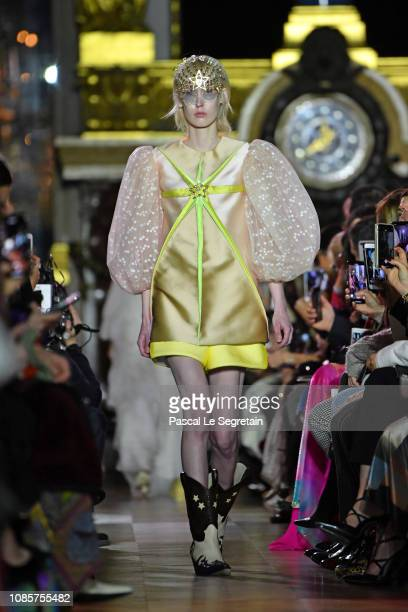 Model walks the runway during the Schiaparelli Spring Summer 2019 show as part of Paris Fashion Week on January 21, 2019 in Paris, France.