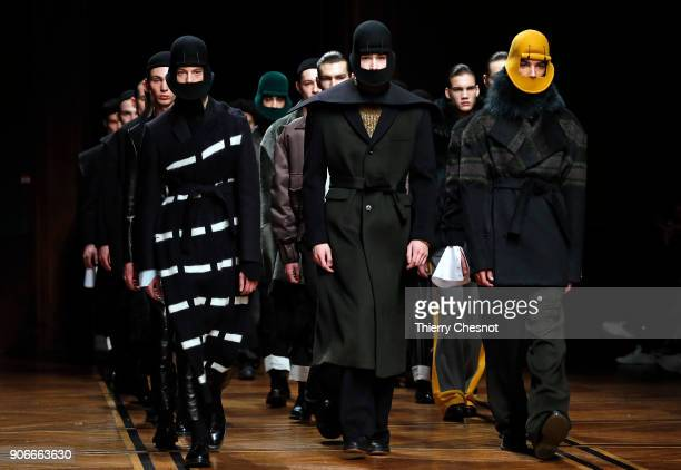 A model walks the runway during the Sean Suen Menswear Fall/Winter 20182019 show as part of Paris Fashion Week on January 18 2018 in Paris France