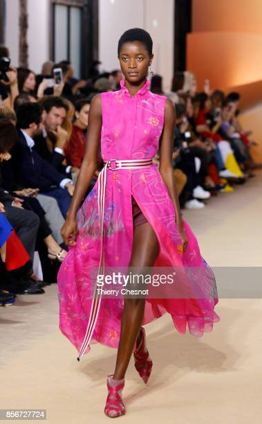 A model walks the runway during the Shiatzy Chen Paris show as part of the Paris Fashion Week Womenswear Spring/Summer 2018 on October 2 2017 in...