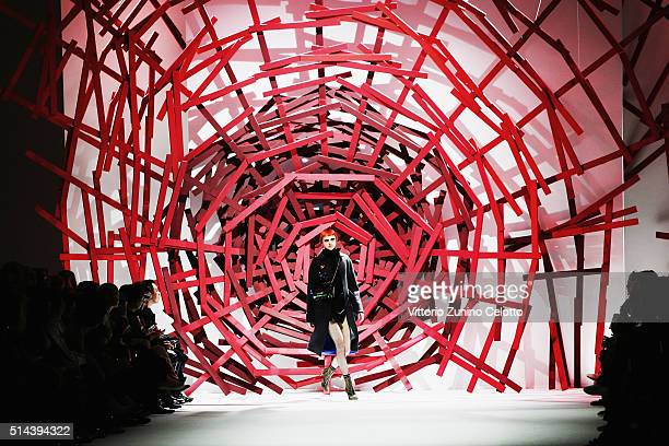 A model walks the runway during the Shiatzy Chen show as part of the Paris Fashion Week Womenswear Fall/Winter 2016/2017 on March 8 2016 in Paris...