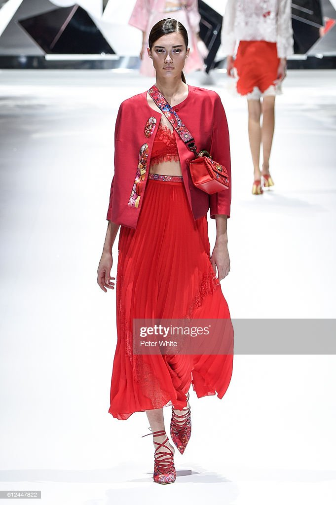 A model walks the runway during the Shiatzy Chen show as part of the Paris Fashion Week Womenswear Spring/Summer 2017 on October 4, 2016 in Paris, France.
