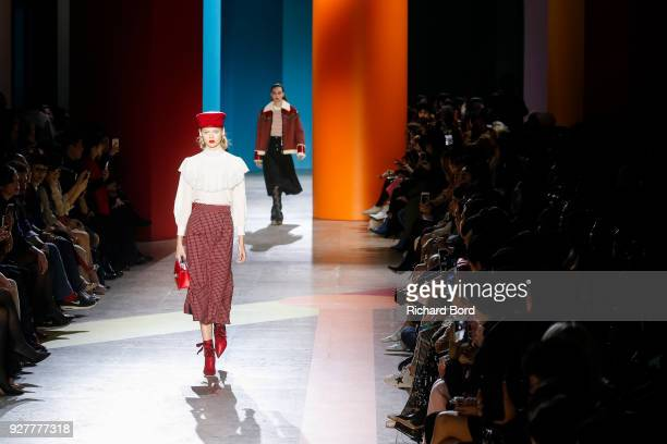 A model walks the runway during the Shiatzy Chen show as part of the Paris Fashion Week Womenswear Fall/Winter 2018/2019 on March 5 2018 in Paris...