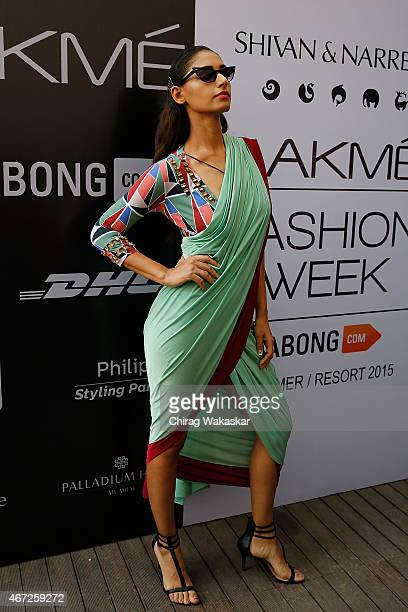 A model walks the runway during the Shivan Narresh show on day 5 of Lakme Fashion Week Summer/Resort 2015 at Palladium Hotel on March 22 2015 in...