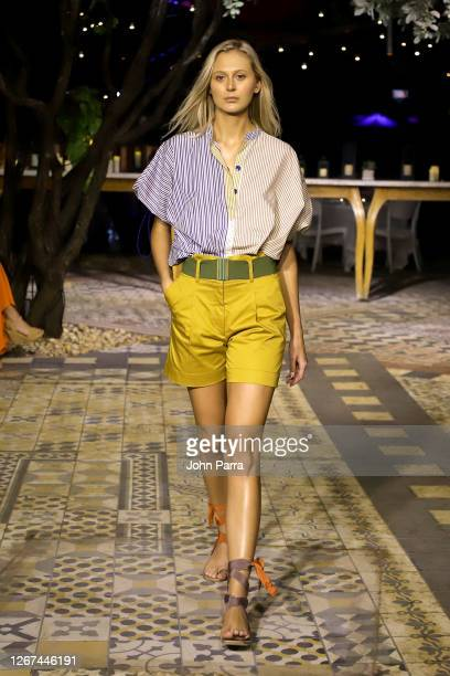 A model walks the runway during the Silvia Tcherassi Resort '21 Fashion Show Paraiso Miami Beach 2020 on August 20 2020 in Miami Florida