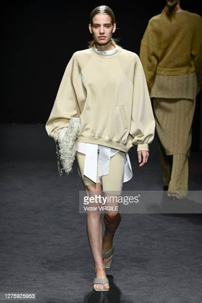 Model walks the runway during the Simona Marziali Ready to Wear Spring/Summer 2021 fashion show at Museo della Permanente during Milan Women's...