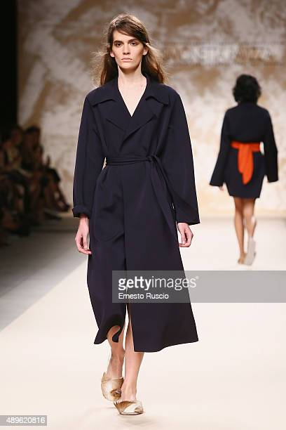 A model walks the runway during the Simonetta Ravizza fashion show as part of Milan Fashion Week Spring/Summer 2016 on September 23 2015 in Milan...